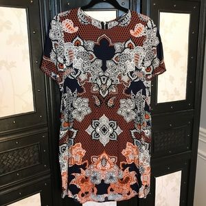 Express Navy and Rust Patterned Shift Dress